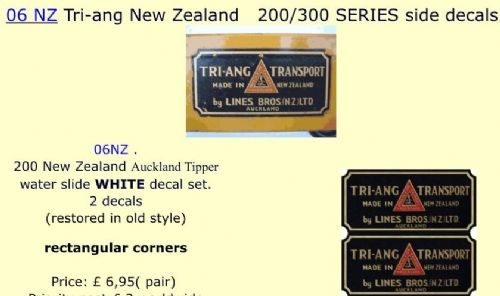06 NZ Tri-ang New Zealand   200/300 SERIES side decals